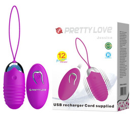 Wholesale Adult Sex Love Egg - PRETTY LOVE USB recharger cold supplied,remote control 12-function vibrations jump egg,Bullet Vibrator Adult Sex Product Sex Toy 17602