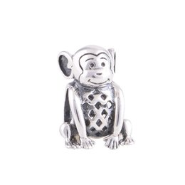 Wholesale Chamilia Bracelet 925 Silver - Wholesale- 100% 925 Sterling Silver Bead Lovely Monkey Charm Women DIY Jewelry Fits Chamilia Charms Bracelet Drop Shipping