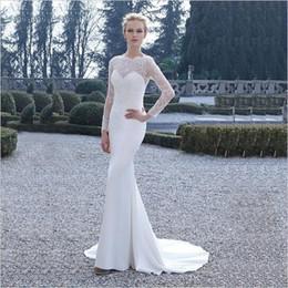 Wholesale See Through Wedding Dress Designer - 2017 Latest Design Long Sleeve Mermaid Bridal Dress See Through Back Gown Wedding Dress Designer Custom Made Free