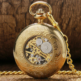 Wholesale Pocket Watch Chain Fob Gold - Luxury Gift Gold Pocket watch Vintage Pendant Watch Necklace Chain Antique Fob Watches Roman Number Clock Pocket Relogio bolso