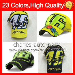 Wholesale Cowboy Hats Girls Pink - 23 Colors USD9 Rossi VR 46 Caps Baseball Cap Racing Caps 46# Snapback Bones Masculino MotoGp Rossi VR46 Hats Moto Men Women Baseball Hat NEW