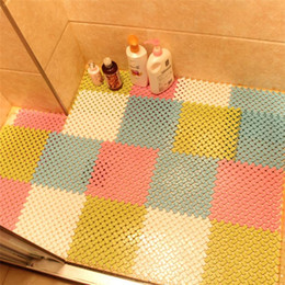 padded shower mat Promo Codes - Wholesale- New Removable Bathroom Non-slip Pad PVC Mat Bath Shower Tub Bathing Rug Bathroom Mosaic Splice Puzzle Pad