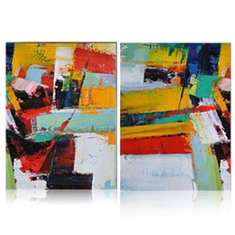 Wholesale Group Modern Abstract Oil Painting - 2 Panels Arts Modern Abstract Style Oil paintings Handmade Canvas Art Decorations Wild Brush Animation Artwork Group Painting for Home Decor