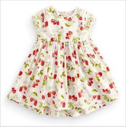 Wholesale Girls Pure Cotton Flowered Dresses - Childrens short sleeve girls dress knitted cotton baby dress summer baby princess skirt pure color flower dress kid215