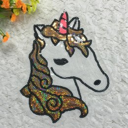 Wholesale Embroidery For Dress Accessory - 10pcs Unicorn Sequin Patches Embroidery Patch For Clothing Blouse Stage Party Dress Accessories Appliqued Badge parches militares