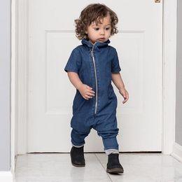 Wholesale Girl Kid Overall Jeans - Boys Denim Rompers Jumpsuit 2017 Spring Autumn Boys Fashion Jeans Oblique Zipper Soft Denim Overalls Kids Clothes