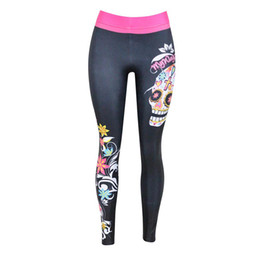 Wholesale Punk Leggins - Wholesale- Skull leggings punk gothic skeleton black leggins women 3D printed plus size Elasticity women Lacina fitness pants WH1098