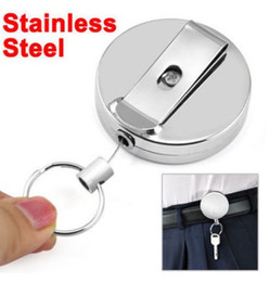 Wholesale Retractable Carabiner - Heavy Duty Extendable Stainless Steel Wire Key Chain Ring Clip Pull Keyring Retractor Rebound Chain With String Retractable Outdoor Tools