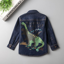 Wholesale Wholesale Printed Denims - Everweekend Boys Dinosaur Print Floral Embroidered Denim Tees Cute Baby Blue Color Fall Tops