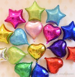 Wholesale Heart Shaped Silver Foil Balloons - 10 inch The Stars heart shape Foil Balloons with Gold and Silver for Birthday Decoration Wedding Party Classical Toy 50pc h314