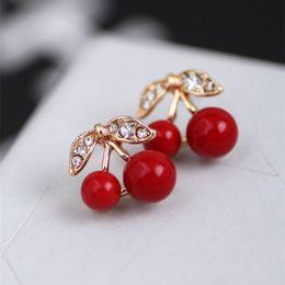 Wholesale Cherry Rings - Fashion Korean Cute Red Cherry Leaf Beads Rhinestone Lovely Ear Stud Earrings jewelry Earrings for women Gift Free shipping