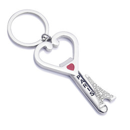 Wholesale paris souvenirs - Bottle Opener Wedding Paris Eiffel Tower Souvenirs Gift Key Chain Heart Keychains Fashion Design Metal Keychain Bar Tool Top Quality Alloy