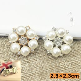 Wholesale Flatback Charms - 50pcs Rhinestones Pearl Flower Jewelry Findings Crystal Button Wedding Brides Hair Accessories Charms Drilling Flatback strass Applique DIY