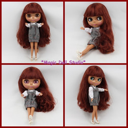 """Wholesale Nude Pvc Figures - [NBL004] 12"""" Lovely Asia Skin with Brwon Long Hair Nude Blythe Doll Suitable makeup for face girls love DIY change dolls for sale"""