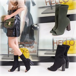 Wholesale Fish Cylinder - Woman Stovepipe Wool Fish Mouth Boots with Thick Elastic Cylinder Female Boots Socks High-heeled Sandals Boots