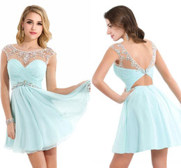 Wholesale Short Mint Homecoming Dresses - Cheap Mint Green Short A Line Homecoming Dress Sexy Sheer Scoop Neck Backless Mini Cocktail Party Dresses with Crystal 2017 Stock