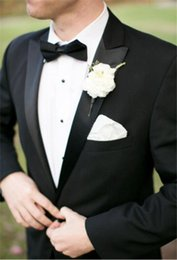 Wholesale Cheap Mens Tuxedo - New Black Mens Suits for Wedding 2017 Two Piece Peaked Lapel Cheap One Buttons Custom Made Groom Tuxedos (Suit+Pants+Tie))