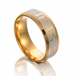 Wholesale High Quality Wedding Rings - High Quality Large Size 8mm ring Titanium Steel Gold Plated Jesus Cross Letter Bible Wedding Band Ring Men Women