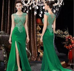 Wholesale Sweetheart Neck Tulle Ball Gown - 2017 Arabic Dubai Green Lace Prom Dresses Beaded Sheer Neck Evening Gowns Water Melon Party Dresses