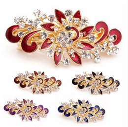 Wholesale Colorful Rhinestones - 2017 Hot Sale Fashion Women Hairpins Colorful Shinning Rhinestones Flower Hairpin Hair Clip Jewelry hair accessories