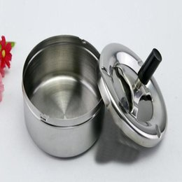 Wholesale Stainless Ashtrays - Practical Home Metal Ashtray Spinning Black Rotation Plain Cigarette Ash Holder Container Tray Push Down Smoking Accessories