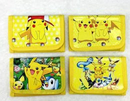 Wholesale Pokemon Coins - Poke go Pikachu canvas wallet bags 4 Style Children Poke Ball Sylveon Pikachu Charmander Bulbasaur Jeni turtle wallet coin purse L001