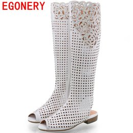 Wholesale Hollow Wedge Heels - Wholesale-EGONERY shoes 2016 new summer women knee high boots open toe heels shoes fashion woman hollow high boots style shoes for summer