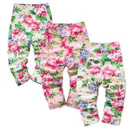 Wholesale Beautiful Grils - Colorful bloom beautiful spring autumn season girls trousers tight pants kids clothing infant leggings grils pants