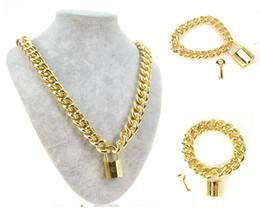 Wholesale Tungsten Key Pendant - Men 18 K Real Gold Plated Filled Metal Choker Necklace Chain Link Bracelet Lock Key Pendant Cuff Wrist Punk Rock Bangle Fashion