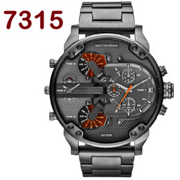 Wholesale Heavy Wrist - Famous Famous Brand Large Big Dial Watches Mens Unique Designer 2 Quartz Movement Watch Male Heavy Full Steel Leather Strap Wrist Watch