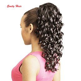 Wholesale Hairpieces For Black Women - Wholesale-Synthetic Kinky Ponytails Hairpieces For American Black Women Fake Ponytail Drawstring Clip On Pony Tail 4 Colors Available