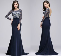 Wholesale Cheap Corset Mermaid Prom Dresses - Dark Navy Sexy Backless Formal Evening Gowns 2018 Sheer Long Sleeves Lace Mermaid Long Prom Dresses with Corset Back Cheap CPS729