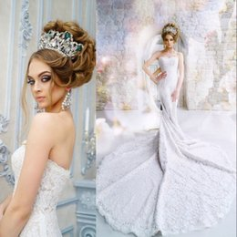 Wholesale Lace Pearl Meter - Charming Lace Mermaid Wedding Gowns With 2 Meter Long Tail Pearls Sweetheart Lace Up Backless Pretty Bridal Dress 2017 Cheap Wedding Dresses