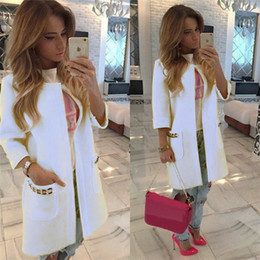 Wholesale Long Sweater Trench Coat - Wholesale- 2016 New Brand Women's Long Sleeve Knitted Cardigan Loose Sweater Outwear Coat lady fashion Winter Trench 5 Colors