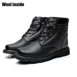 Wholesale Shoes Soft Inside - Wholesale-High quality Genuine leather wool inside men Army bootsTactical snow winter boots shoes keep warm