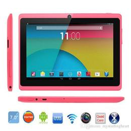 Wholesale Google Tablet Gps - 7 Inch Tablet PC Q88 Tablets Android WIFI Allwinner A33 Quad Core 512M 8GB 1024*600 HD Dual Camera 3G 2800mAh Google Play Store
