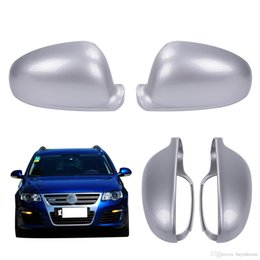 Wholesale Side Door Mirror Covers - 2X Silver Door Side Rearview Mirror Cover Caps For VW Golf Rabbit Jetta SHARAN MK5 MK6 GTI TDI GLX GL Passat EOS #P417