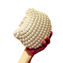 Wholesale Cat Head Handbag - Wholesale- New arriving Pearl evening bags cat head shape beaded clutch bags summer style party bag famous brand design purse and handbags