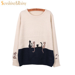 Wholesale Hand Spliced - Wholesale-2016 Autumn Winter Women Long Sleeve cat embroidery Splice Casual Pullover underwear Sweaters For Girls Pullovers Tops