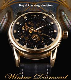 Wholesale Cheap Acrylic Cases - Classic Genuine Leather Series Cheap Royal Diamond Design Black Golden Case Skeleton Men Watch Top Brand Luxury Automatic Watch