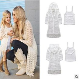 Wholesale Knitting Vest Summer - Mother and Daughter Matching Dress Set 2017 Summer Knitted Hollow Out Tassel Coat Vest Mother and Daughter Clothes Family Clothing 393
