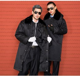 Wholesale Reflective Overalls - 10sets Thickened multifunctional security coat winter cotton padded jacket reflective property security uniform cold proof overalls coat