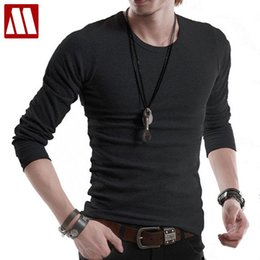 Wholesale Korean Wholesale Slim T Shirts - Wholesale- FREE shipping & gift NEW Men's t-shirt Korean slim O-neck cotton long sleeve T shirts grandad top extra large XXXXXL 16 color