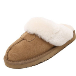 Wholesale Warm Indoor Boots Women - Wholesale- plus size 35-43 women winter warm genuine real suede leather cashmere wool fur snow boots indoor mules slides Flat shoes