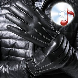 Wholesale Long Faux Fur Gloves Fingerless - Wholesale- High Quality Winter Thicken Warm Men's Touch Screen Leather Gloves For Men Touch Phone Ladies Long Gloves Fleece male Mitt
