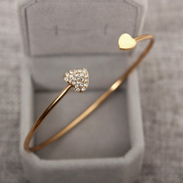 Wholesale Heart Shaped Bangle Bracelet - Heart - shaped Crystal Heart Open Bracelet Gold - plated Bangle Double Heart Bracelet wholesale free shipping