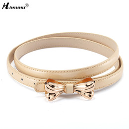 Wholesale Lady Jeans Belt - Wholesale- Hot Sale Bow Smooth buckle patent Genuine leather Female Belt for Women Lady Fresh Thread Jeans Girdles Belts Candy 6 colors