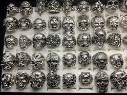 Wholesale Stainless Skull Rings - Wholesale 50pcs Lot Vintage Skull Skeleton Jewelry Rings Punk Mixed Style Rings Stainless Steel Colors For Man