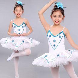 Wholesale Spandex Leotard Kids - White Girls Sequined Leotard Dancewear Ballet Tutu dress Gymnastics Dance Dress Kids Performance Party Costume Outfits
