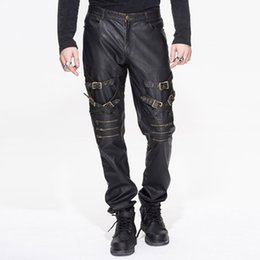 Wholesale punk rock pants trousers - Wholesale- 2016 Autumn Winter Shiny Gothic England Punk Rock Street Straight Male Long Trousers PU Hip Hop Metal Men Grommet Straps Pants